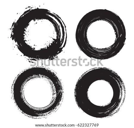Set of grunge circles.Distress round shapes.