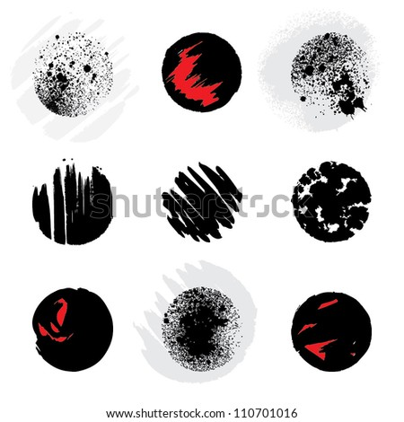 Set of grunge circles. Vector