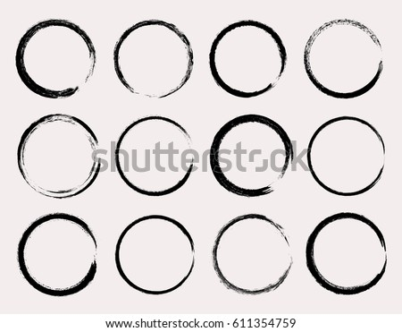 Set of grunge circles.Vector grunge round shapes.