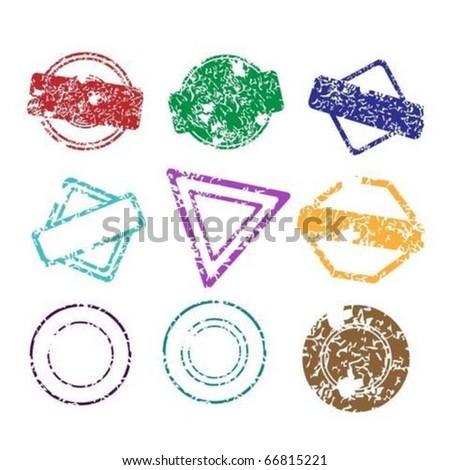 Set of grunge color stamps