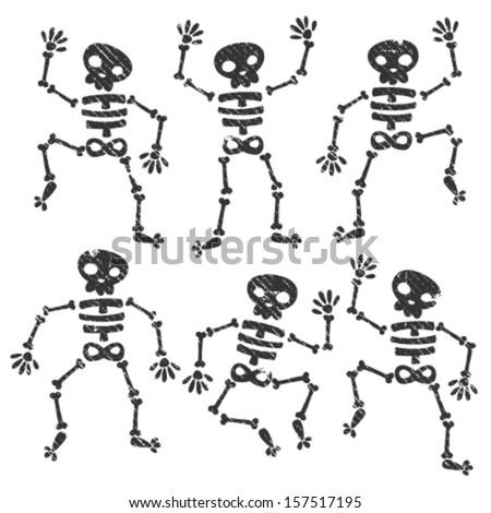 set of grunge dancing skeletons