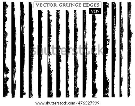 Set of grunge edges,borders.Vector brush strokes.