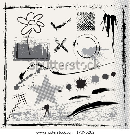 Set of Grunge effect, vector illustration layered. All elements are individual objects.