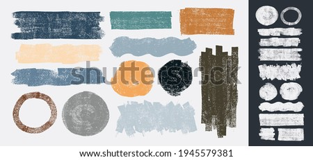 Set of Grunge elements for social media. Vector paintbrush, brush strokes templates. Design rectangle text boxes or speech bubbles. Dirty distress texture banners for social networks story and posts.