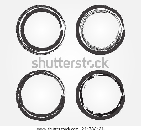 Set of grunge frames. Circle frames for your design.