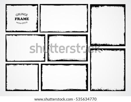 Set of grunge frames.Distress border frames.Abstract vector template.