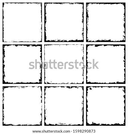 Set of grunge frames. Grunge background. Grunge border. Vector illustratoin