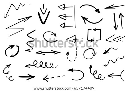 Set of grunge hand drawn arrows isolated on white. Vector illustration #657174409
