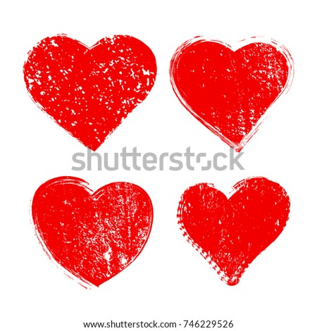 set of grunge heartsvector
