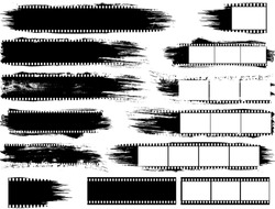Set of Grunge Inspired Film Strips and Elements. Use to add texture to photographs or existing vectors.