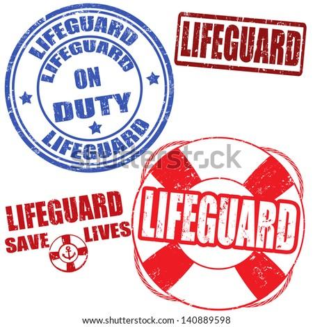 set of grunge lifeguard rubber