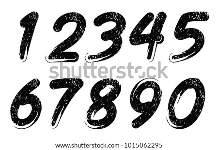 Set of grunge numbers.Vector dirty numbers.
