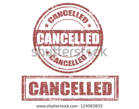 Set of grunge office rubber stamp with the word cancelled written inside the stamp,vector illustration