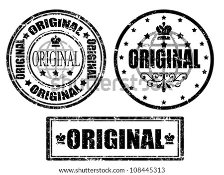 Set of grunge office rubber stamp with the word original written inside the stamp