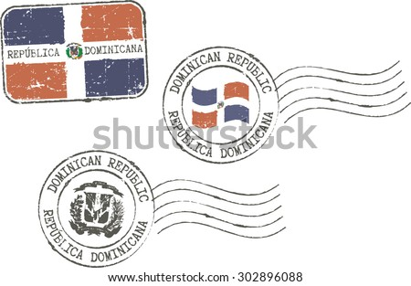 Set of grunge postal stamps ''Dominican republic''. English and spanish inscription