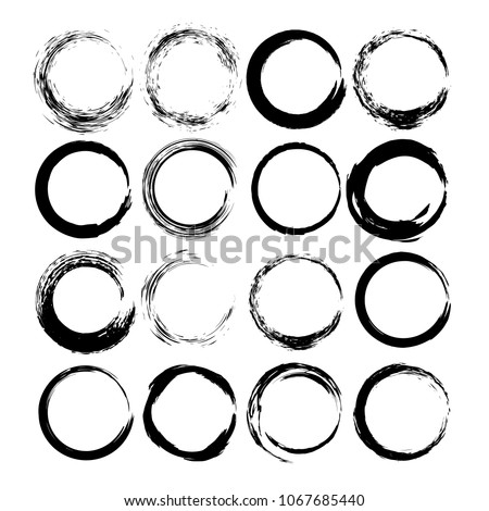 Set of grunge round frames. Collection of black borders. Vector illustration.
