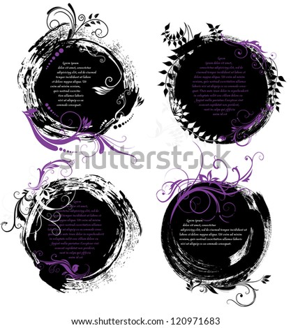 Set of grunge rounded banners with patterns and free space for message