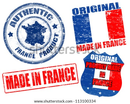 Set of grunge rubber stamp with the text made in France written inside, vector illustration