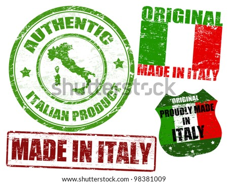 Set of grunge rubber stamp with the text made in Italy written inside, vector illustration - stock vector
