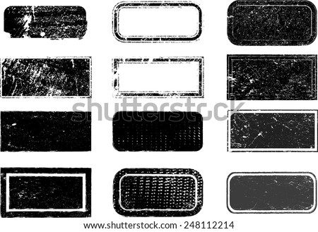 Set of Grunge Rubber Stamps.