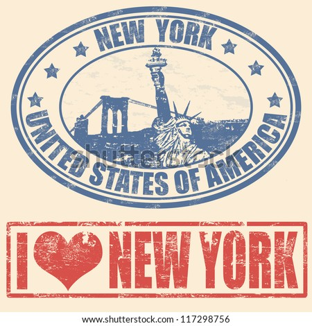 Set of grunge rubber stamps with  New York, vector illustration