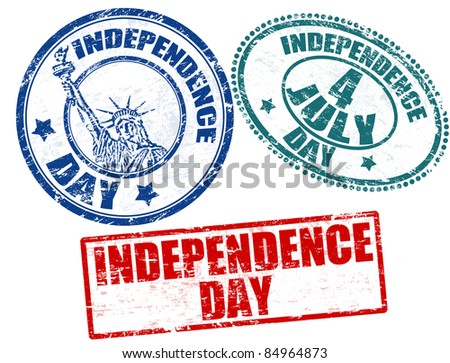 Set of grunge rubber stamps with text Independence Day written inside, vector illustration