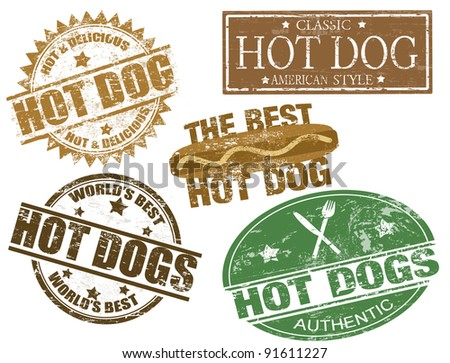 Set of grunge rubber stamps  with  the text hot dogs written inside, vector illustration