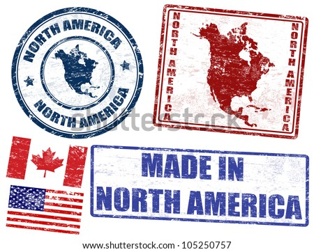Set of grunge rubber stamps with the text North America written inside, vector illustration