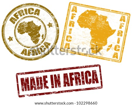 Set of grunge rubber stamps with the word Africa written inside, vector illustration