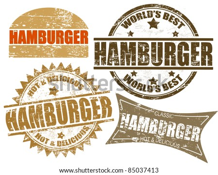Set of grunge rubber stamps  with  the word hamburger written inside, vector illustration