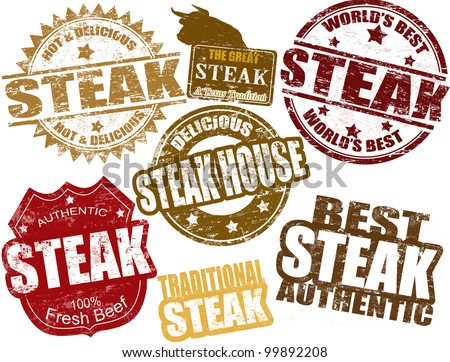 Set of grunge rubber stamps  with  the word steak written inside, vector illustration