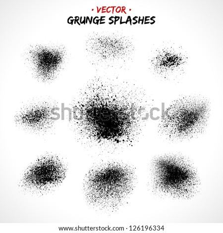 Set of grunge splashes. Grunge brushes. Retro background. Vintage background. Design elements. Grunge texture. Hand drawn. Texture background. Abstract shape