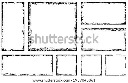 Set of grunge square frames. Empty border background. Hand draws black and white ink. Distress damaged edge vintage template. Brush stroke vector.