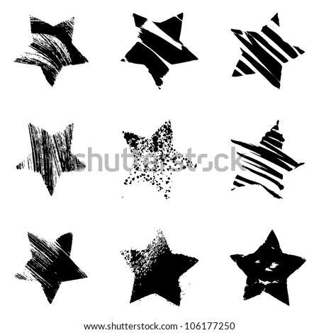 Set of grunge stars on white background. Vector