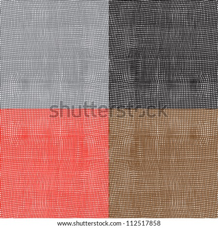 Set of grunge striped and checkered wavy textures. Vector design #112517858
