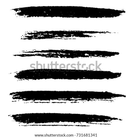 Set of grunge stroke brushes. Distress line design elements collection. Dirty artistic template. EPS10 vector.