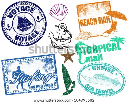 Set of grunge summer stamps, vector illustration