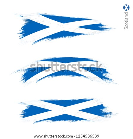Set of 3 grunge textured flag of Scotland, three versions of national country flag in brush strokes painted style. Vector flags.