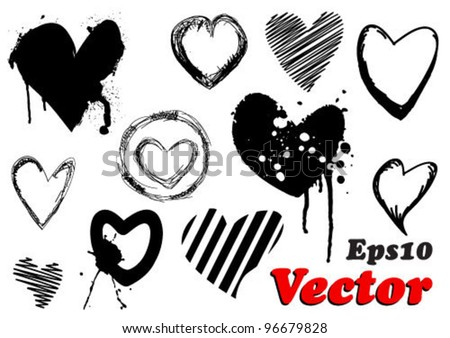 Set of grunge valentine hearts for your design - stock vector