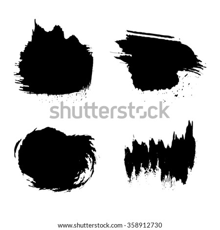 Set of grunge vector and ink brushes. Abstract black design elements. #358912730