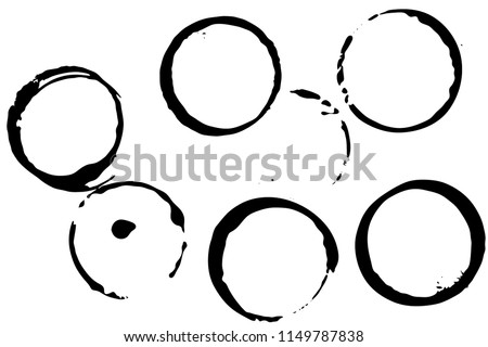 Set of grunge vector coffee cup stains or vine glass marks isolated on white. Ink, wine, water, paint or other liquid cup stains. Spray splashes collection