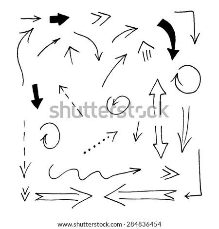 Set of grunge vector hand drawn arrows. Vector hand drawn arrows set. #284836454
