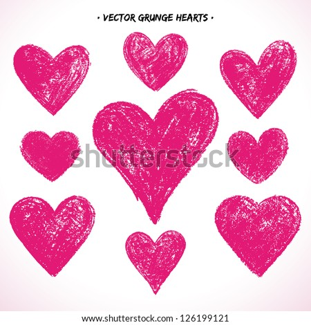 set of grunge vector hearts