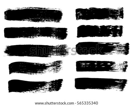 Set of Grunge Vector Texture with Black isolated Paint stripes, dry border in black. Vector brush Strokes, Modern Textured sharps for distressed banner.