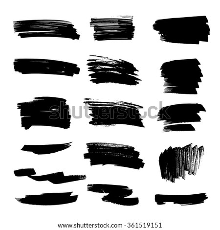 Set of grunge vector textured black ink brush strokes