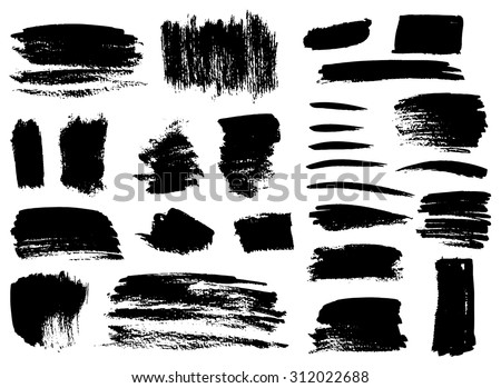 Set of grunge vector textured brush strokes #312022688