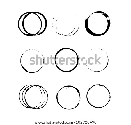 Set of grungy circle stains