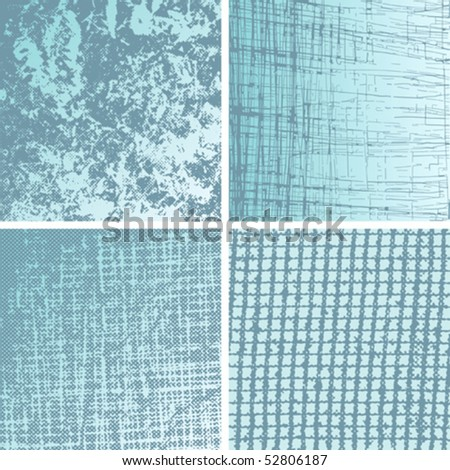 Set of grungy design elements. Nets, scratches; cracks. - stock vector
