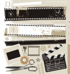 Set of grungy filmstrips and other film related design elements. Retro movie, cinema and photography vector design.