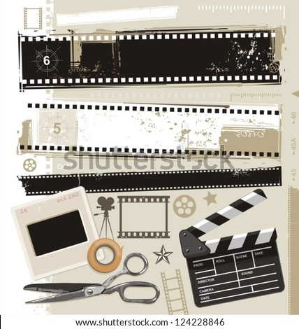 Set of grungy filmstrips and other film related design elements. Retro movie, cinema and film vector design.